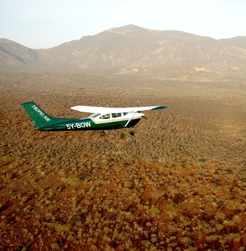 Cessna 182 flying over Laikipia, Northern Kenya