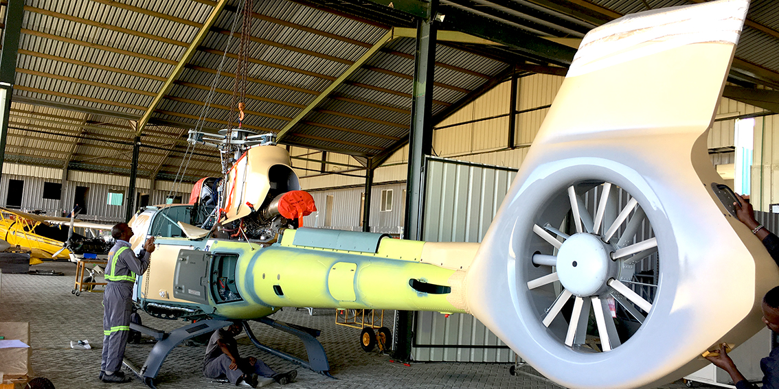 Airbus AS130T2 in the Tropic Air Hangar
