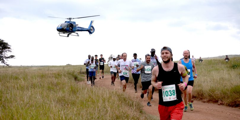 Helicopter with lewa marathon runners