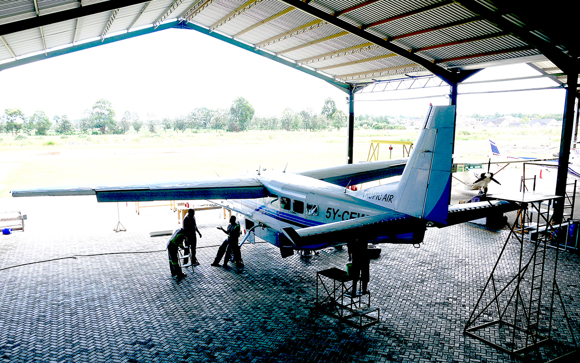 Cessna Caravan in the Tropic Air Hangar, Nanyuki