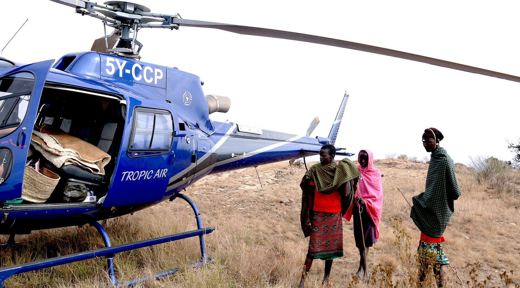 Samburu people with the Helicopter