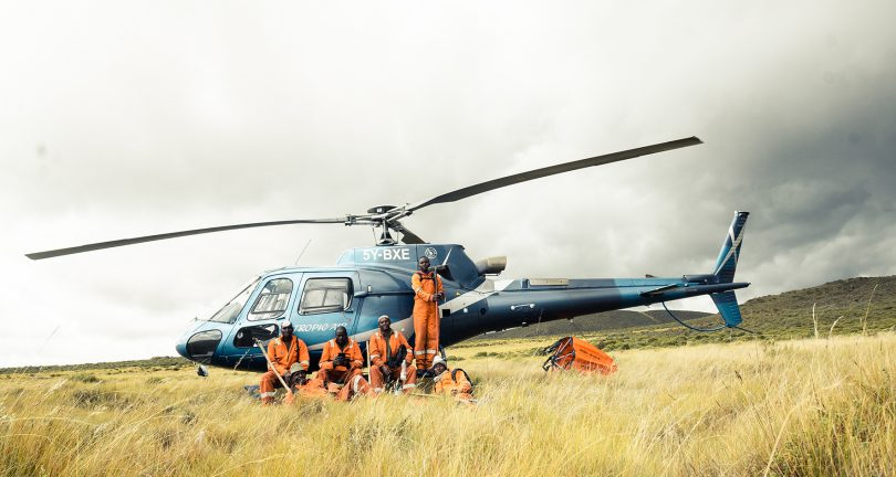 Team from Mount Kenya Trust fighting fires