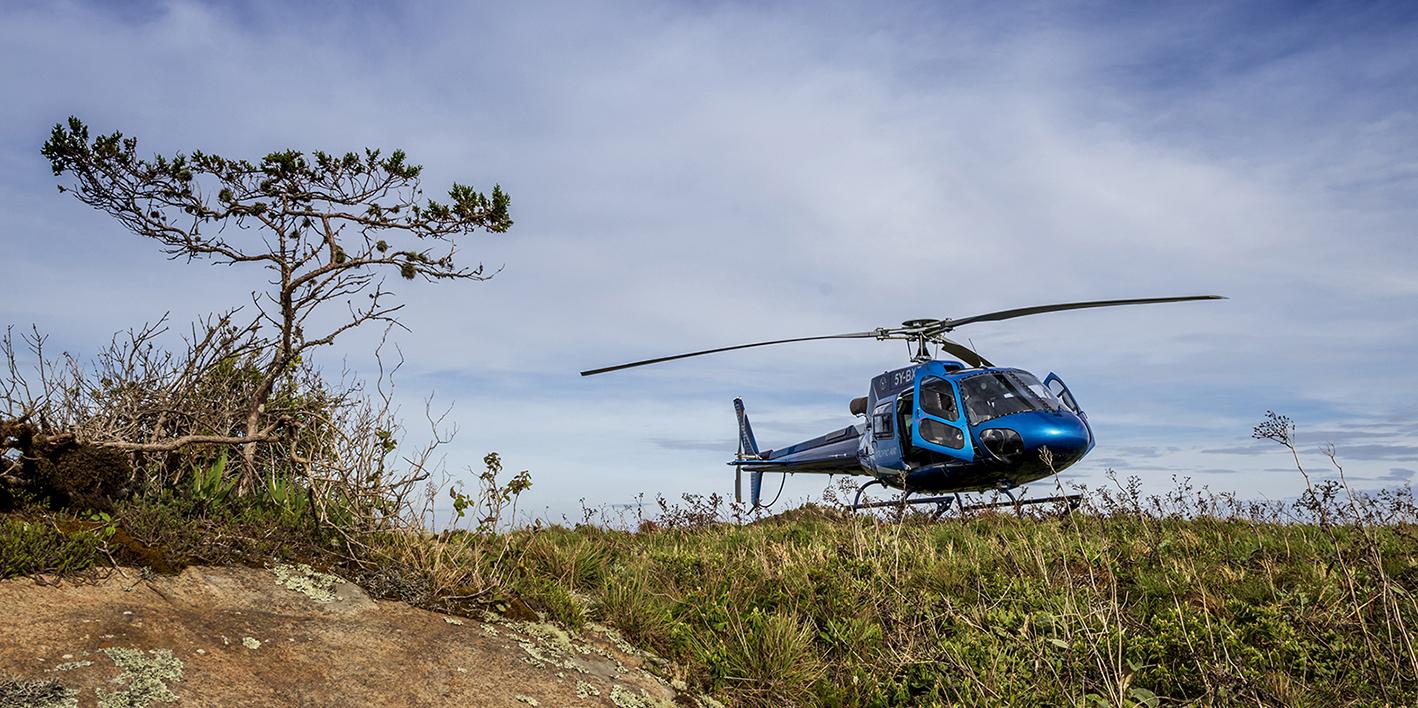 Helicopter in Kidepo, Uganda