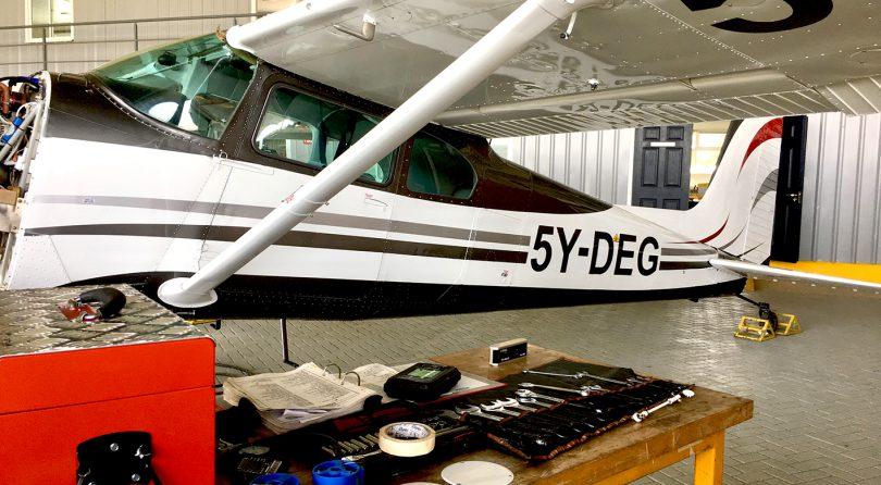 Cessna 180 in the hangar