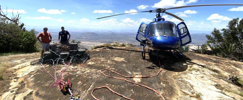 Helicopter long lining for picnic on Ol Lolokwe, Samburu