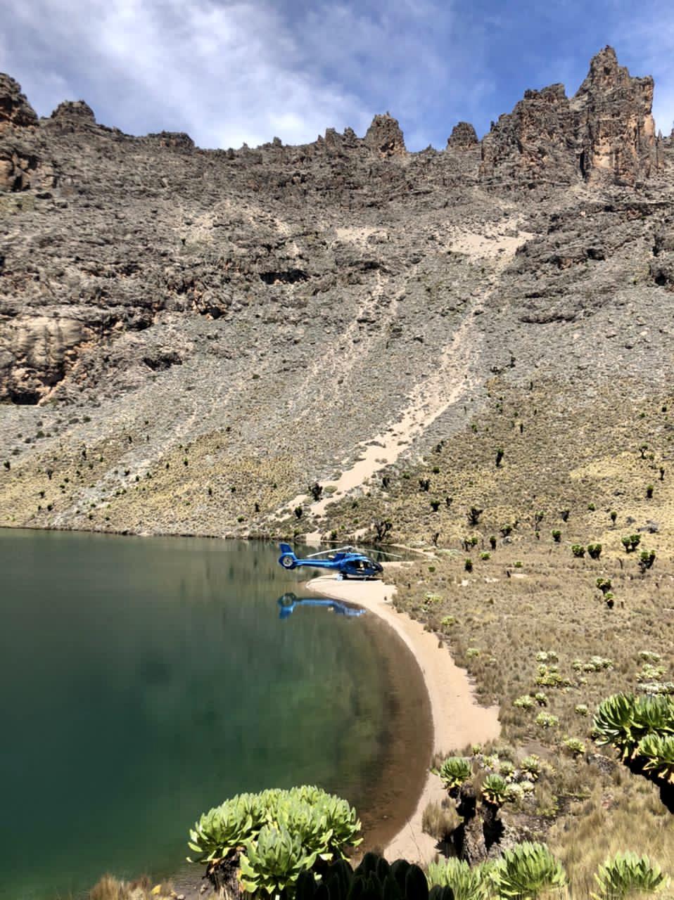 Helicopter at Enchanted Lake on Mount Kenya
