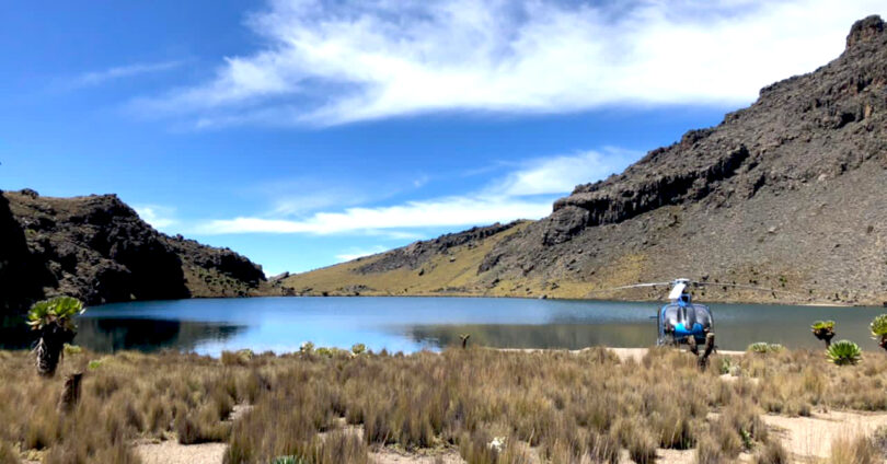 Enchanted Lake, Mount Kenya by Helicopter